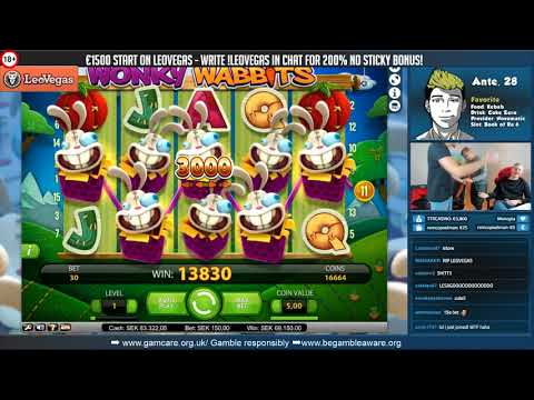 RECORD WIN! Wonky Wabbits multiple wild lines slot from Casino Livestream!