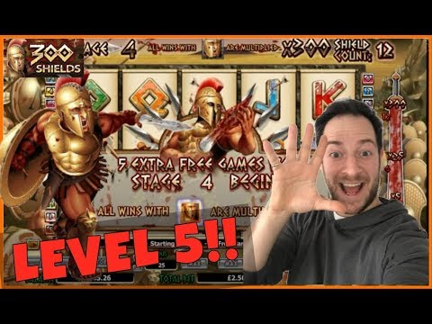 300 SHIELDS LEVEL 5 MEGA BIG WIN!! ( Online Slots & Casino )