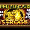*HUGE MEGA WIN* – FIVE FROGS SLOT – MAX BET BONUS +SUPER GAMES|RETRIGGER! – Slot Machine Bonus