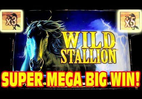 Wild Stallion * SUPER MEGA BIG WIN * Slot Machine Bonus HUGE 3x 5x WIN