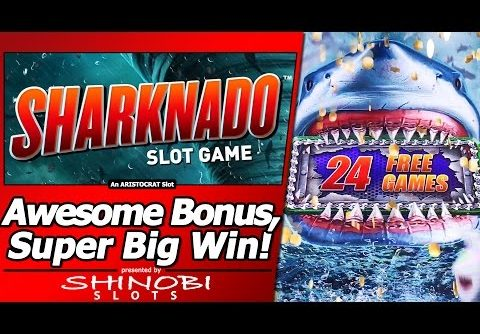 Sharknado Slot – Super Big Win in Long, Awesome Free Spins Bonus with Re-Trigger/Multiple features