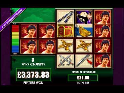 £7727 MEGA BIG WIN (357 X STAKE) BRUCE LEE™ BIG WIN SLOTS AT JACKPOT PARTY