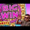 SUPER BIG WIN Bonus on Donuts Slot!