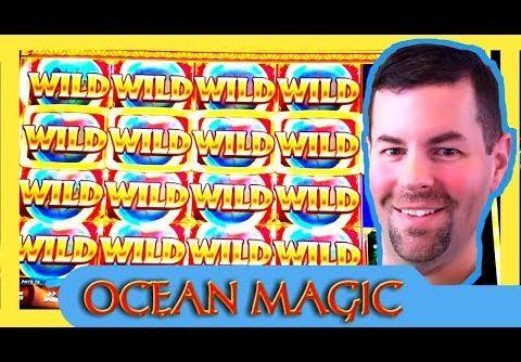 Ocean Magic Slot Machine | Big Win on Small Bet! | Nearly full screen of Wilds!