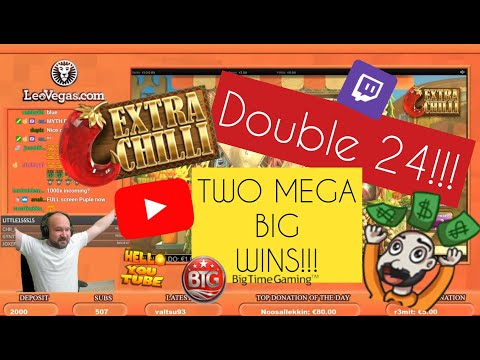 Double 24!! Two Mega Big Wins From Extra Chilli Slot!!