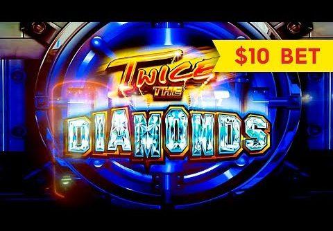 Twice The Diamonds Slot – BIG WIN BONUS – $10 Bet!