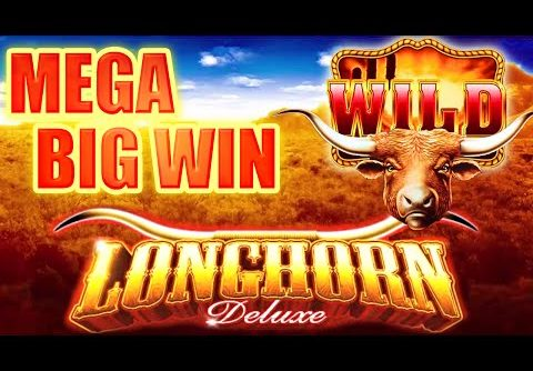 MEGA BIG WIN ~ LONGHORN DELUXE SLOT MACHINE BONUS HIGHEST VOLATILITY x2x5 Aristocrat Slots