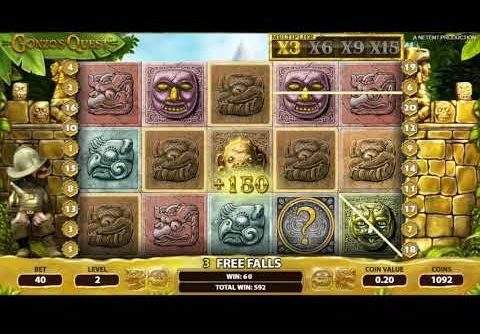 Gonzo's Quest Free Spins and mega win (Netent slot)