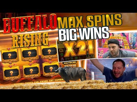 MUST SEE!!! NEW BUFFALO RISING SLOT HUGE WINS COMPILATION – REINDEEERRR!!!