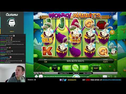 SUPER MEGA WIN on Wonky Wabbits Slot   1 20 Bet