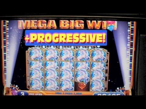 Mystical Unicorn Slot Machine MASSIVE BIG HUGE WIN WITH PROGRESSIVE JACKPOT