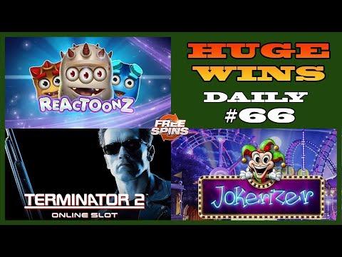 Jokerizer [HUGE WIN],Terminator 2(MEGA WIN),Reactoonz  (BIG WIN) Daily slots #66