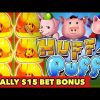 🐷FINALLY $15 BET BONUS🐷HIGH LIMIT HUFF N PUFF BONUS SUPER BIG WIN SLOT MACHINE