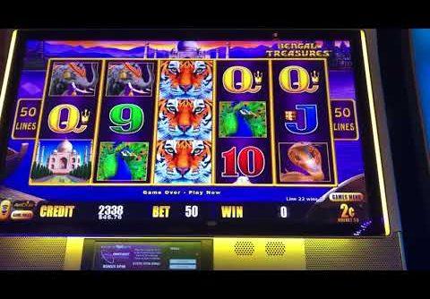 Live play on lightning link bengal treasures slot machine big win!