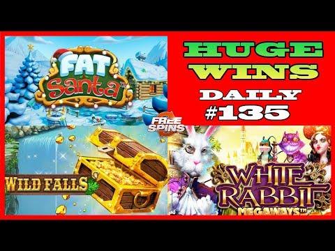 Wild Falls slot [HUGE WIN], White Rabbit (MEGA WIN), Fat Santa (BIG WIN) DAILY #135