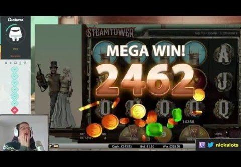 SUPER MEGA WIN On Steamtower Slot – £1.20 Bet