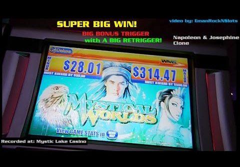 Mystical Worlds Slot Machine BIG Trigger and Retrigger — SUPER BIG WIN!