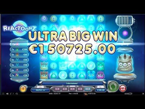 WORLD BIGGEST WIN ON REACTOONZ 150 000€ SLOTS