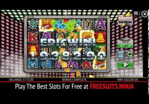 Danger High Voltage Slots HUGE WIN 555x Free Spins!