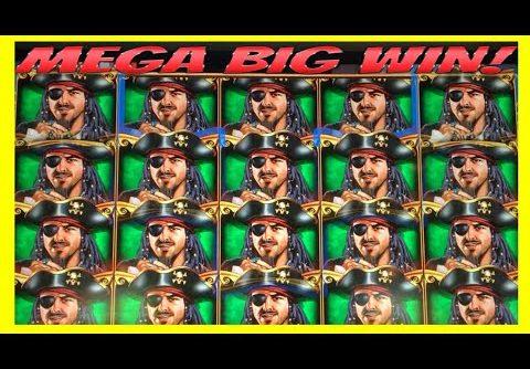 **MEGA BIG WIN!** FULL SCREEN WILDS! Pirate Ship WMS Slot Machine Bonus Wins!