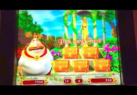 "SUPER BIG WIN!! LIVE PLAY ""KING MIDAS"" Slot Machine Bonus (MAX BET!)"