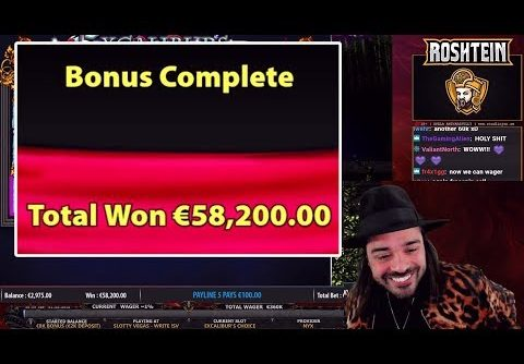 ROSHTEIN CRAZY 58200 EURO MEGA BIG WIN XCALIBUR'S CHOICE CASINO ONLINE SLOT
