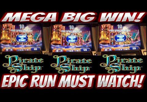 MEGA BIG WIN!!! 9 BONUSES!!! EPIC RUN ON PIRATE SHIP SLOT MACHINE!!!