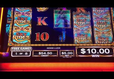 Skyrider Slot Machine Bonus Huge Win Almost Handpay!! $5 Max Bet Full Screen Wilds