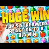 TOP 5 STREAMERS ' REACTION TO A BIG WIN | FRUIT PARTY SLOT