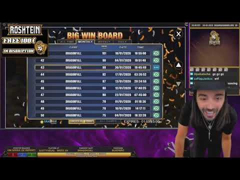 ROSHTEIN Record win 100 000 € on Dragon Fall slot   Top 5 Best Wins of Stream