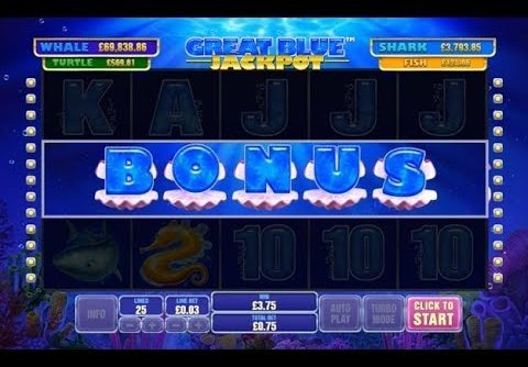 MEGA Win from £0.75p Spin on the New Great Blue Jackpot Online Slot from Playtech