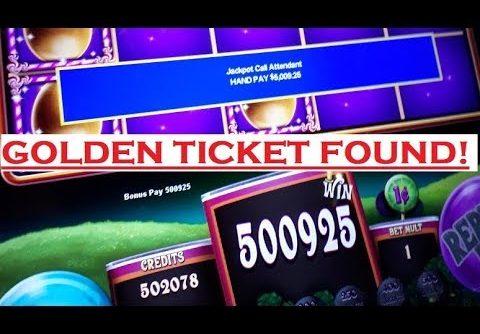 WILLY WONKA SLOT $5,000.00 Golden Ticket Found * HANDPAY * JACKPOT * HUGE WIN * 10,000x+
