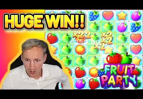HUGE WIN! FRUIT PARTY BIG WIN – €5 bet on CASINO Slot from CasinoDaddys LIVE STREAM (OLD WIN)