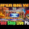 **SUPER BIG WIN!** Pirate Ship Bonuses+Live Play – WMS Slot Machine