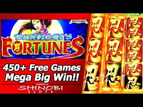 Kunoichi's Fortunes Slot – 450+ Free Games, Mega Big Win in Konami Xtra Reward game!