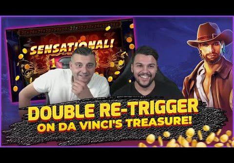 BIG WIN on Da Vincis Treasure! DOUBLE Retrigger! HUGE WIN on Online Slots!