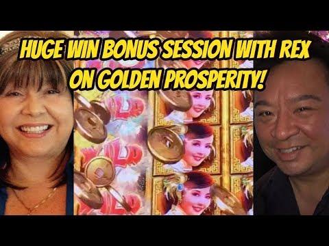 HUGE WIN BONUS WITH REX ON GOLDEN PROSPERITY SLOT