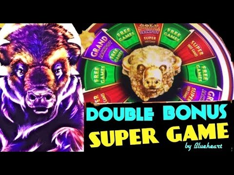 BUFFALO GOLD slot machine Super Game, Double Bonus and Big win! (Wonder 4 jackpots)