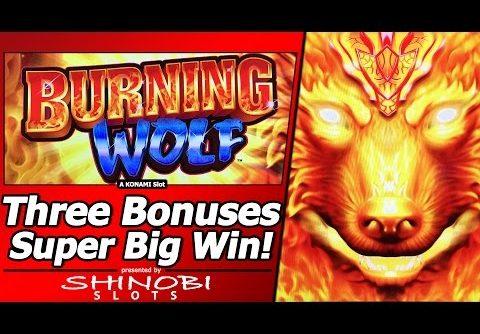 Burning Wolf Slot – Super Big Win!  Live Play with Three Free Spins Bonuses