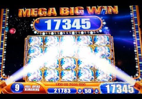 MEGA BIG WIN! Mystical Unicorn Bonus + Retrigger WMS Slot Machine