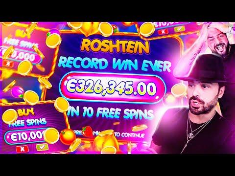 ROSHTEIN Biggest win ever €326.000 on Fruit Party slot €100 Bonus buy INSANE x3263 WIN