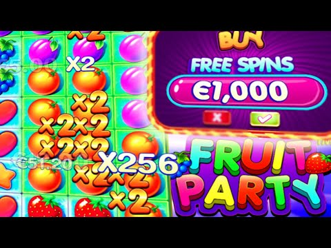 Fruit Party 🍓 Slot MEGA BIG WIN 🍊 X256 Non Stop Bonus Buys up to €1.000‼️