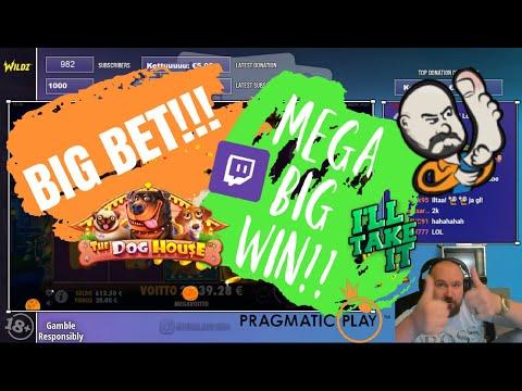 Big Bet!! Mega Big Win From The Dog House Slot!!