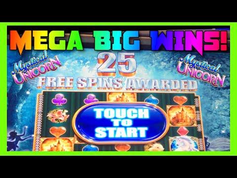 **MEGA BIG WINS!** RETRIGGERS! Mystical Unicorn (WMS) Slot Machine Bonus Montage