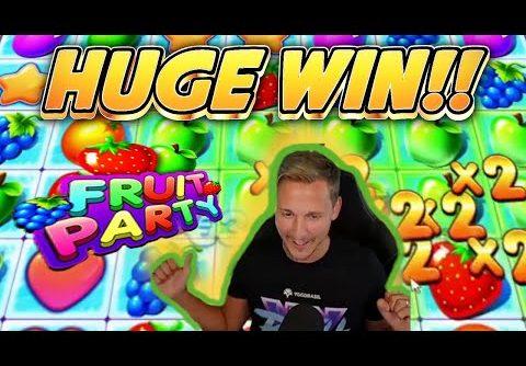 HUGE WIN! FRUIT PARTY BIG WIN – BONUS BUY ON CASINO Slot from CasinoDaddy