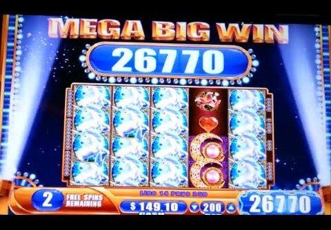 MAX BET! MEGA BIG WIN! Mystical Unicorn Free Spins Bonus WMS Slot Machine