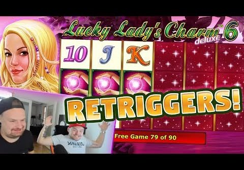RETRIGGERS! Lucky Ladys Charm 6 BIG WIN – HUGE WIN – Slots (4 euro bet)
