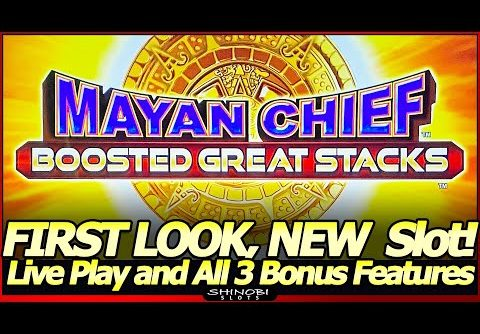 Mayan Chief Boosted Great Stacks Slot Machine – First Look, NEW Slot!  Live Play and All 3 Features!