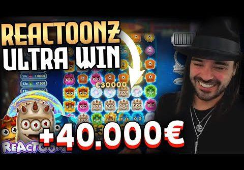 Streamer  extra win 40.000€ on Reactoonz slot – Top 5 Biggest Wins of week