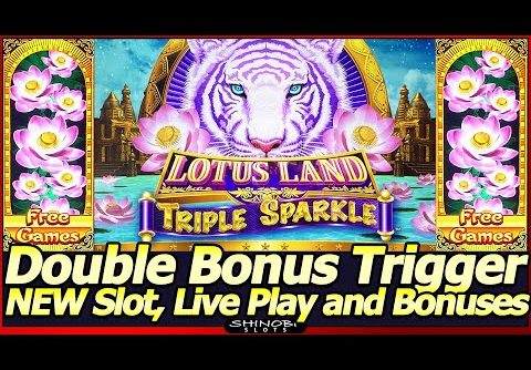 Lotus Land Triple Sparkle Slot Machine – NEW Slot, Double Bonus Trigger!  Live Play and Free Spins!